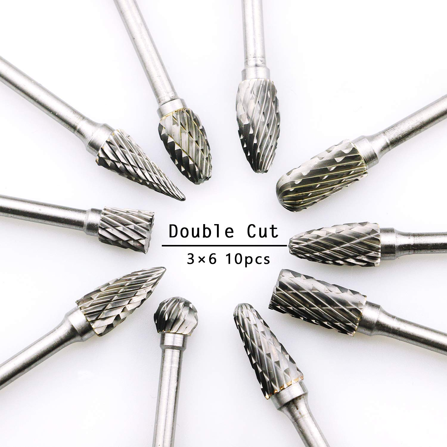 "DLtools 10pcs Double Cut Tungsten Carbide Rotary Burr Set, Metal Carving Drilling Polishing Bits with 1/8""(3.175mm) Shank and 1/4""(6.35mm) Head Dia for Die Grinder"