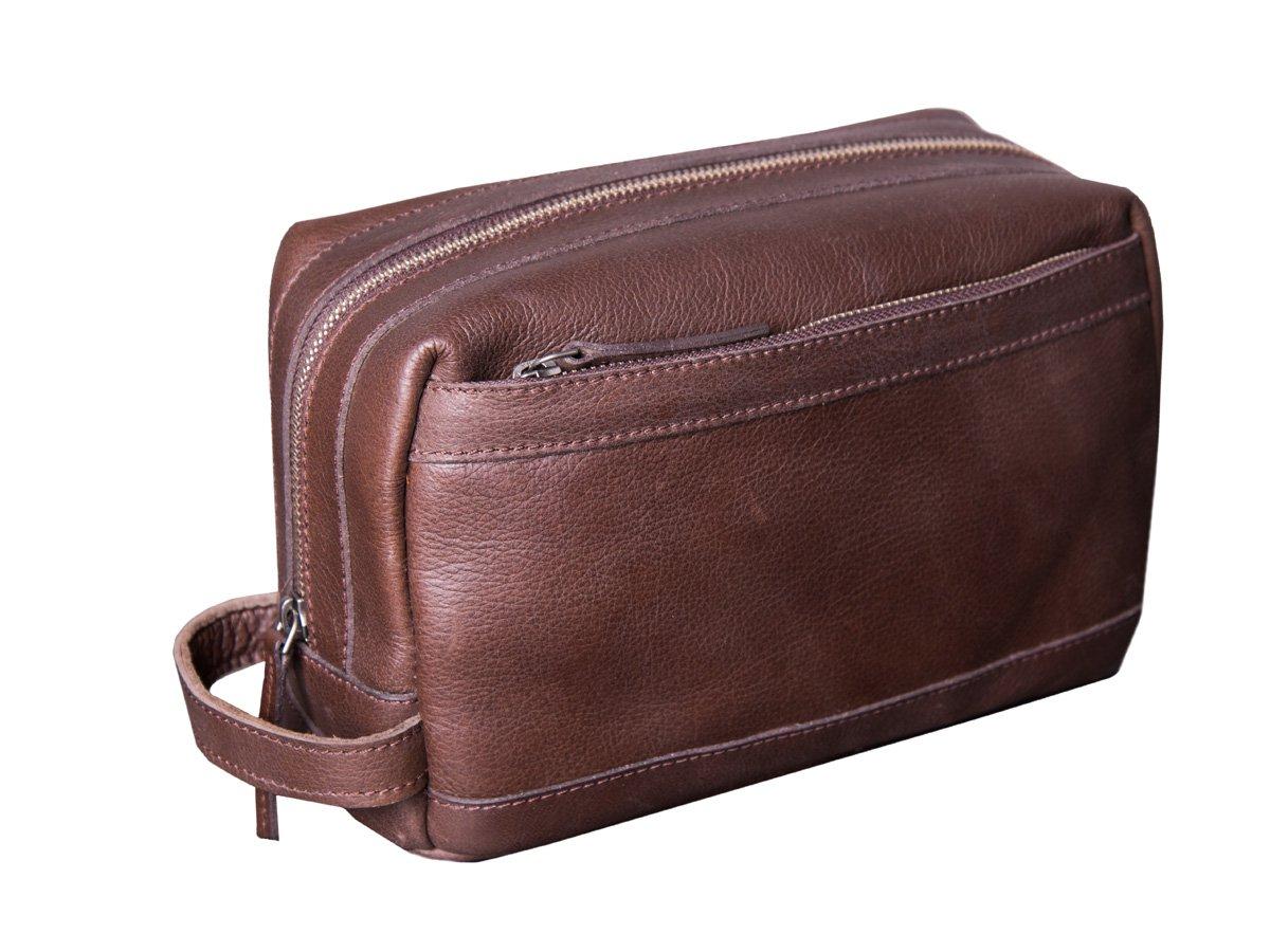 Dwellbee Premium Top Grain Leather Toiletry Bag and Dopp Kit with TSA Approved LokSak Waterproof Bag (Buffalo Leather, Brown)