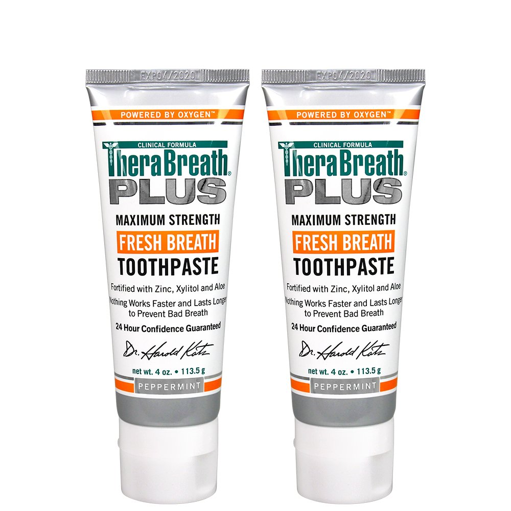 TheraBreath PLUS Toothpaste – Dentist Recommended – Maximum-Strength Toothpaste – Stops Chronic Halitosis – Certified Vegan – Approved for Diabetics – 4 Ounces – Two-Pack