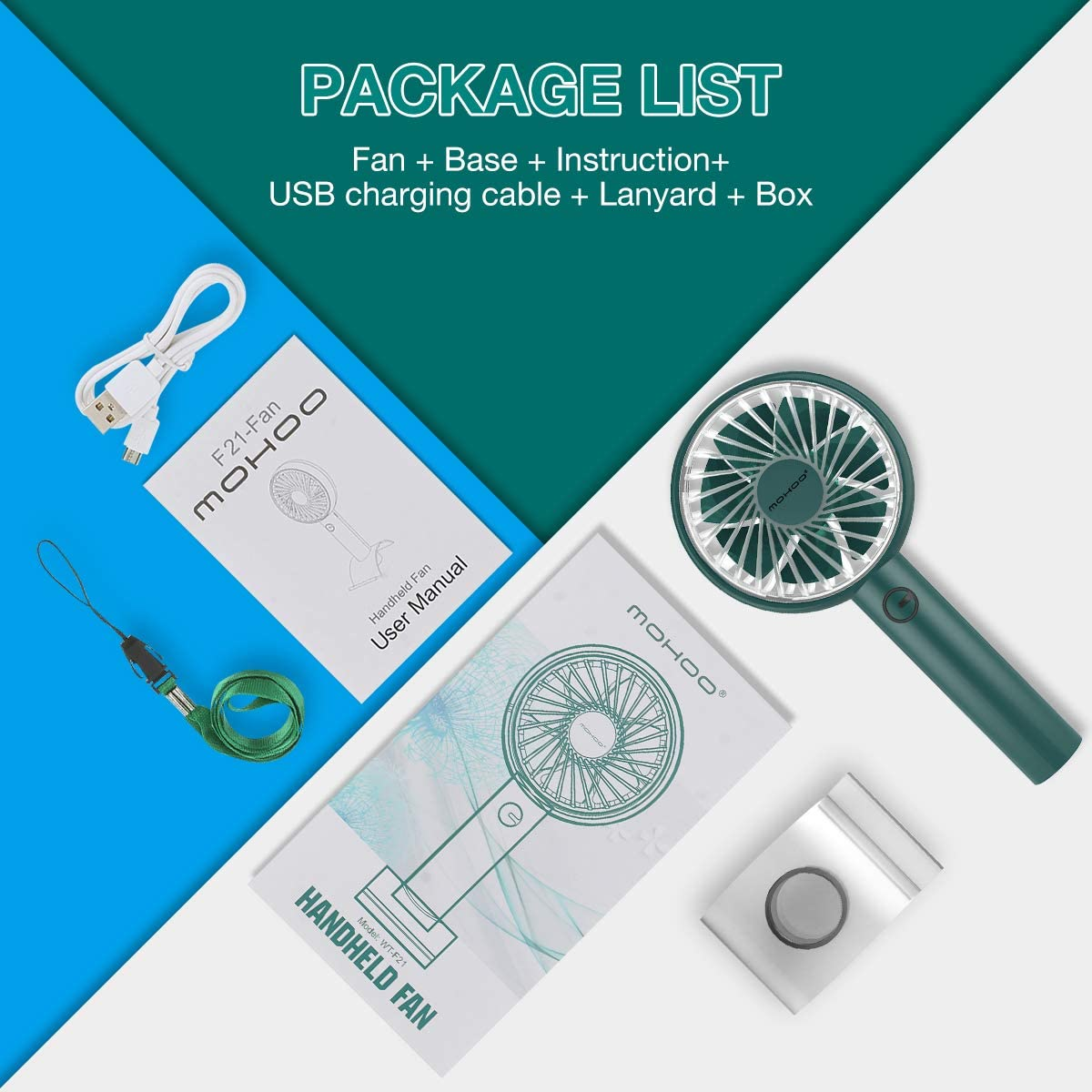 MOHOO Adjustable Angle Hand Fan,Hand Held Fan Portable USB Fan Seven Leaf Handheld Fan 4 Speeds Rechargeable Battery Operated Electric Fan with Phone Base for Home Office Travel