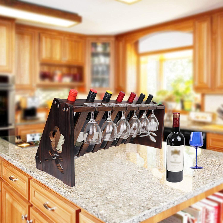 TUORUI Tabletop Wine Rack,Wood Wine Bottle and Glass Rack, Wine Storage Simple Assembly 7 Bottle 6 Long Stem Glass Holder Vintage Walnut
