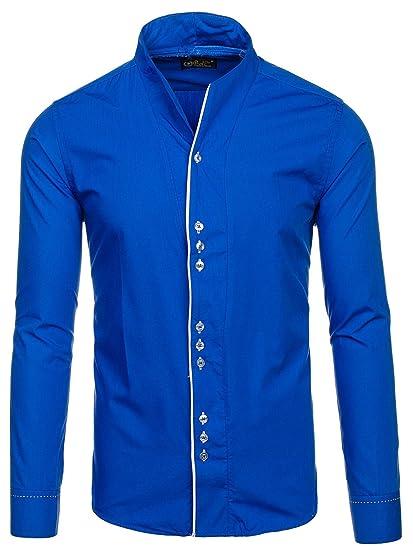 BOLF Camisa casual - cuello mao - Manga Larga - para hombre azul ...