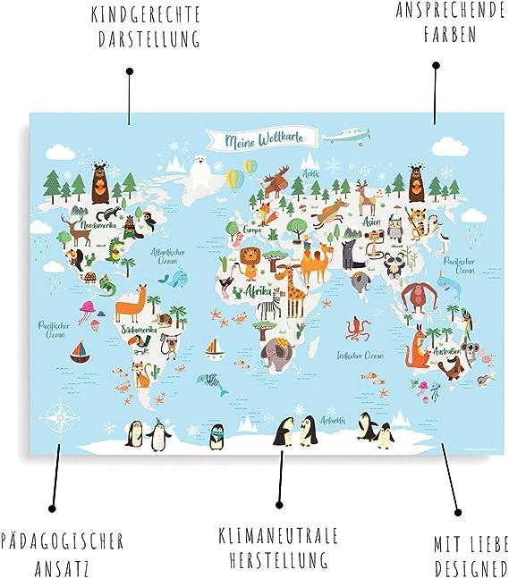 Friendly Fox Mapamundi Infantil, Mapa mondial para niños en alemán, XXL Niños Atlas Póster, Póster de Aprendizaje para habitación Infantil, Gran Mapa del Mundo de los Animales con Paquete de Regalo: Amazon.es: