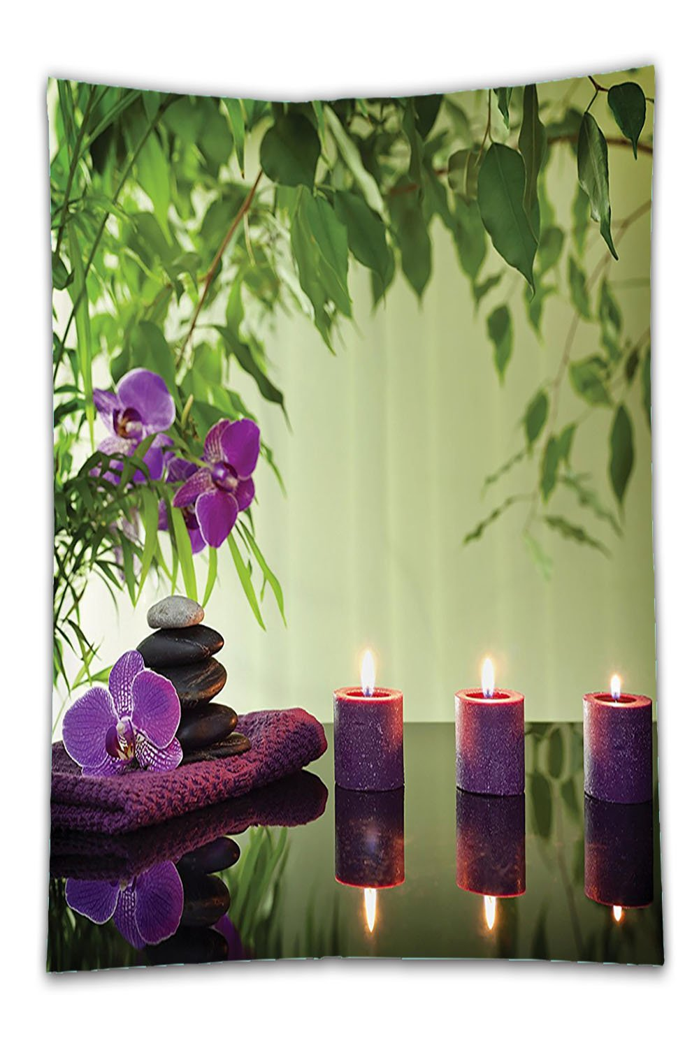 Beshowereb Fleece Throw Blanket Spa Decor Set Zen StoneAromatic CandleAnd OrchidBloomTreatment Vacation Bathroom Accessorie Long.jpg