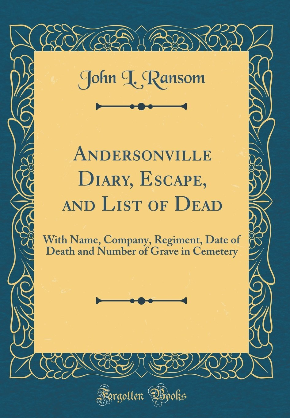 Andersonville Diary, Escape, and List of Dead: With Name, Company, Regiment, Date of Death and Number of Grave in Cemetery (Classic Reprint) PDF
