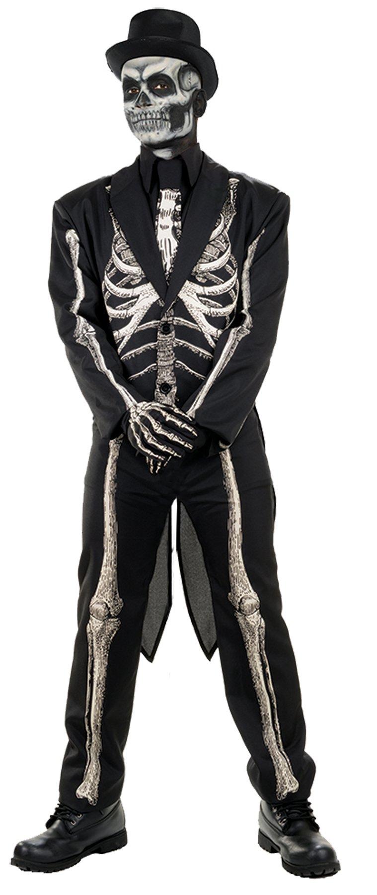 UHC Men's Bone Chillin Skeleton Coat w/ Tails Horror Theme Halloween Costume, STD