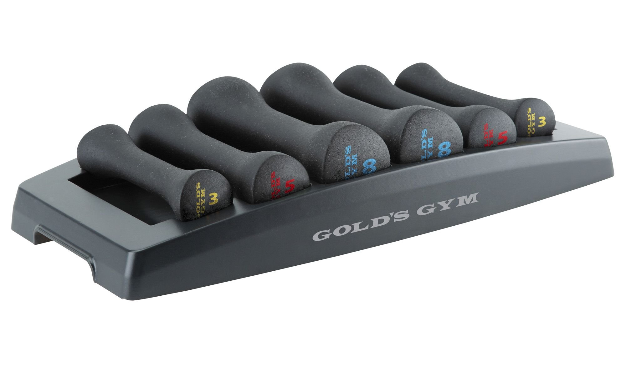 Gold's Gym Fitness Workout Hand Weights Exercise Dumbbell Set with Storage Tray