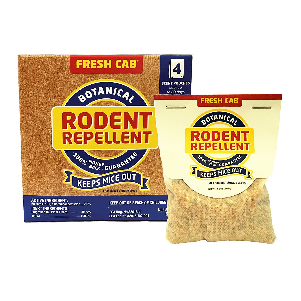 Earthkind Botanical Rodent Repellent, 4 Pouches - 125 Square Feet per Pouch by Fresh Cab