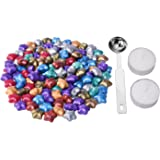 eBoot 140 Pieces Star Shape Sealing Wax Beads with 1 Piece Wax Melting Spoon and 2 Pieces Candles, 9 Colors