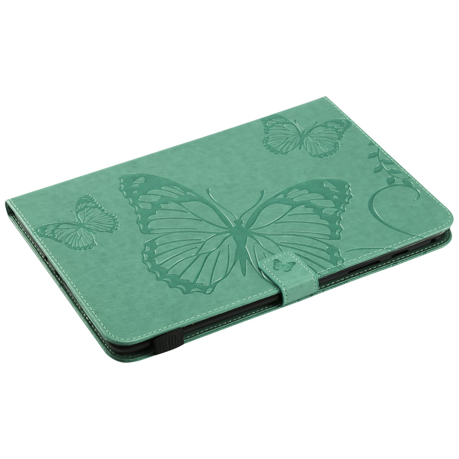 Shinyzone Tablet Leather Case for Samsung Galaxy Tab A 9.7 T550,Embossed Green Butterfly Pattern with Credit Card Slots and Pencil Holder,Auto Sleep and Wake Function Magnetic Flip Stand Cover by ShinyZone (Image #4)