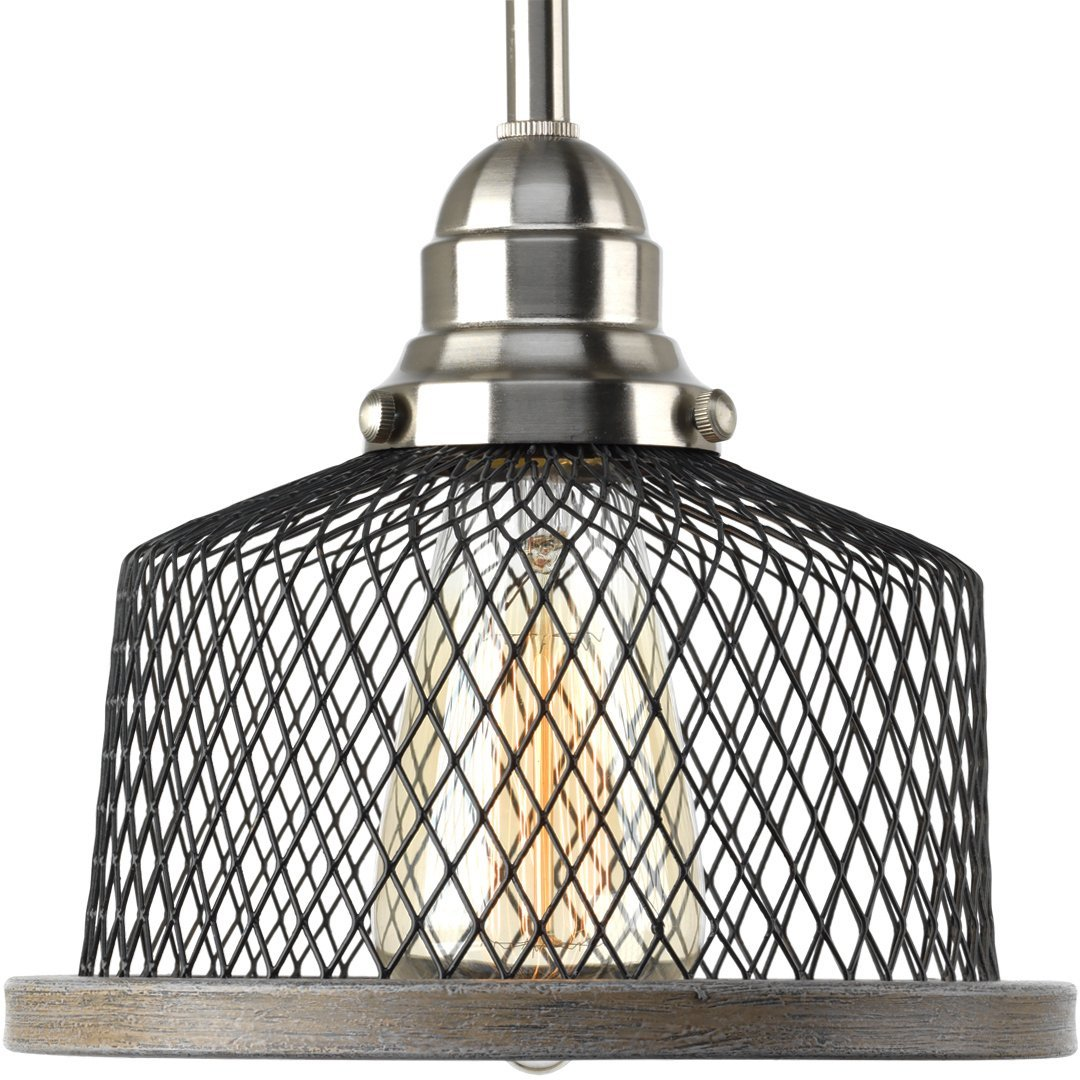 Luxury Vintage Pendant Light, Small Size: 7''H x 8''W, with Industrial Chic Style Elements, Brushed Nickel Finish, UHP2730 from The Eugene Collection by Urban Ambiance
