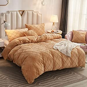 JAUXIO Diamond Pinch Pleated Crystal Velvet Bedding Set Solid Pintuck Duvet Cover with Pillow Shams for Home Decor Zipper Closure (Camel, Queen)