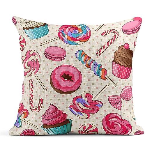 Cojín Rosa Patrón Yummy Colorido Dulce Lollipop Candy ...