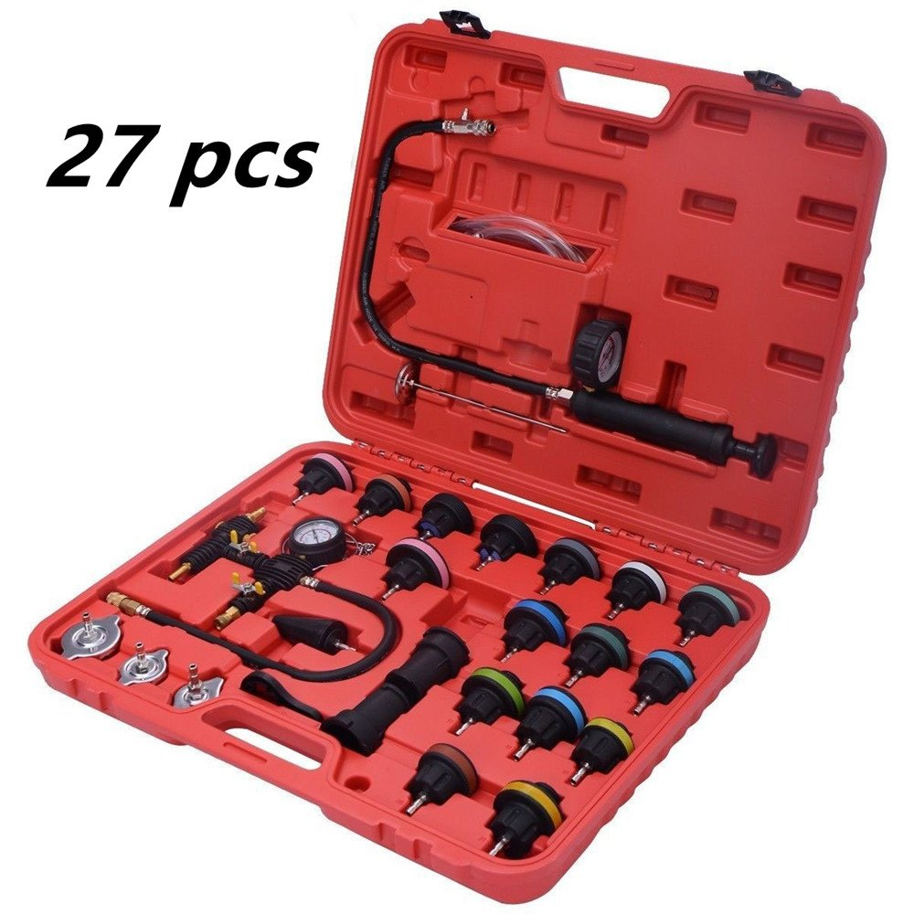 Zorvo 27 pcs Universal Radiator Pressure Tester and Vacuum Pump Type Cooling System Kit Refill Kit W/Case by zorvo (Image #1)