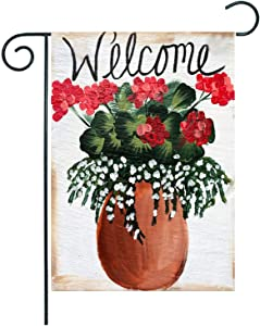 ZUEXT Welcome Flower Cluster Vase Garden Flag 12.5 x 18 Inch Vertical Double Sized, Burlap Farmhouse Red Geranium Hydrangea Floral Yard Flag, Spring Summer Holiday Party Outdoor Yard Decoration