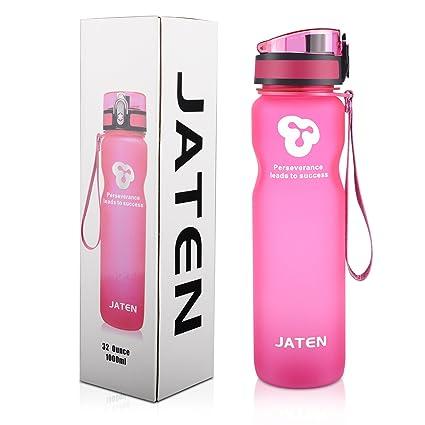 ba7b7ce36a Amazon.com: JATEN 1-Click Open Leak Proof Flip Top Lid Sports Water ...