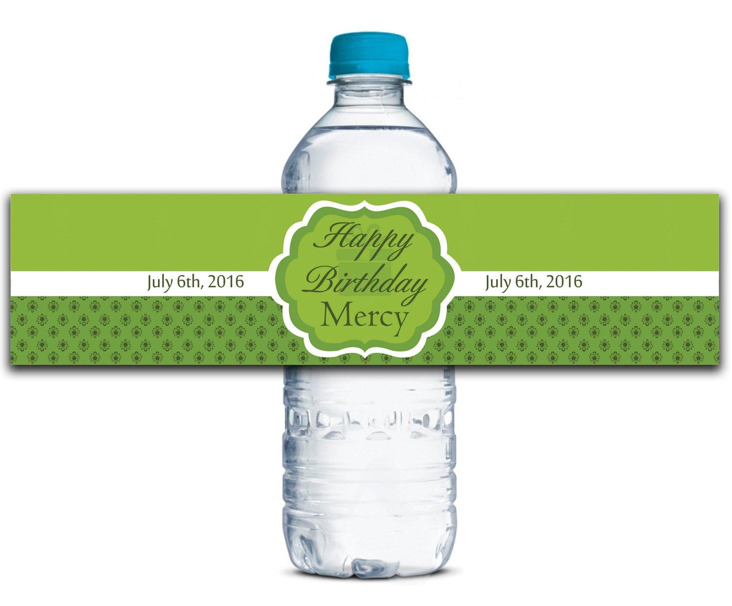 Personalisierte Wasserflasche Etiketten Selbstklebende wasserdichte Kundenspezifische Geburtstags-Aufkleber 8  x 2  Zoll - 50 Etiketten B01A0W4FCG Farbetiketten Qualifizierte Herstellung