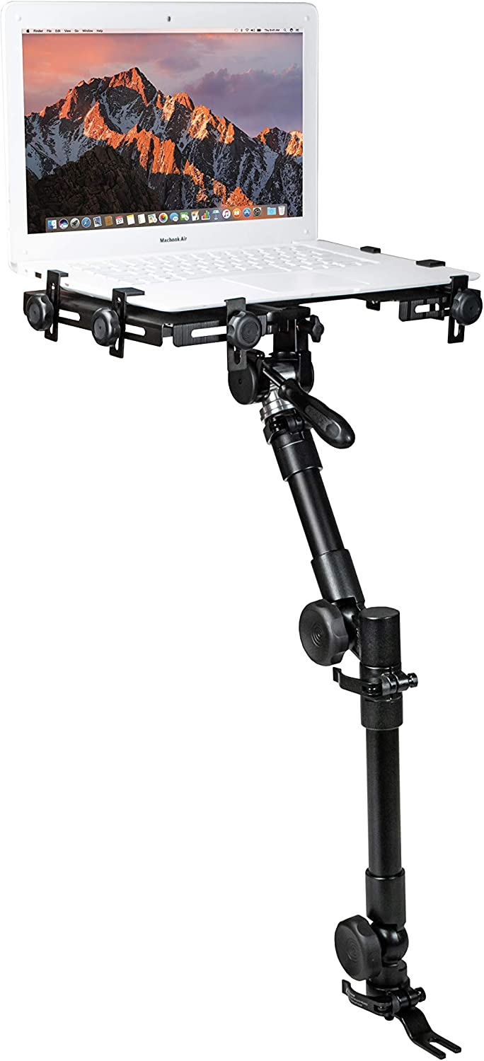 CTA Digital: Multi-Flex Laptop Vehicle Mount for 10.125 to 14.875 inches in Width Laptops, No-Drill, Under Car Seat, Full Motion Notebook Holder