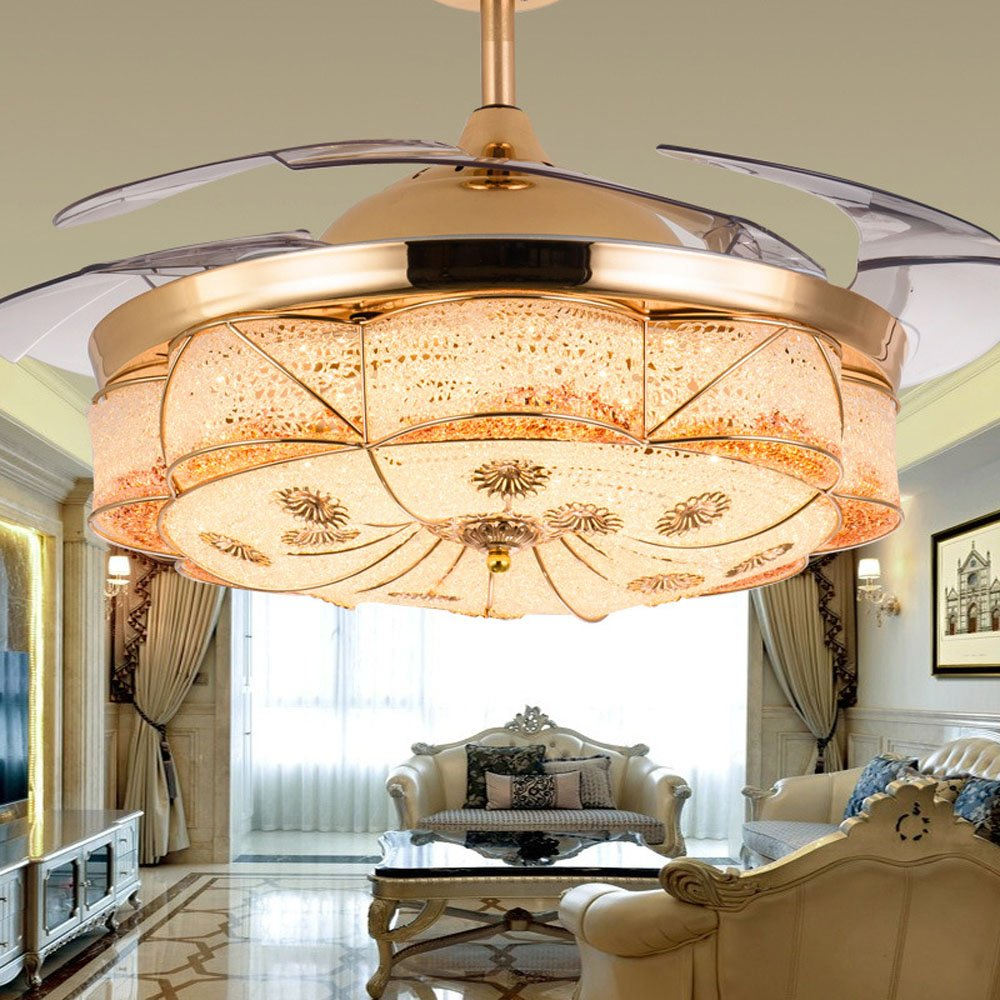 Huston Fan European Luxury Style Invisible Ceiling Fan Living Room Restaurant Bedroom Ceiling Light Chandelier Home Energy Chandelier Fan Saving LED Gold (36inch)
