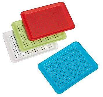 Invero - Juego de 4 bandejas antideslizantes de plástico para servir con superficie de goma de