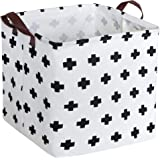 HIYAGON Square Storage Bins,Storage Baskets,Canvas Fabric Storage Boxes,Foldable Nursery Basket for Clothes,Books…