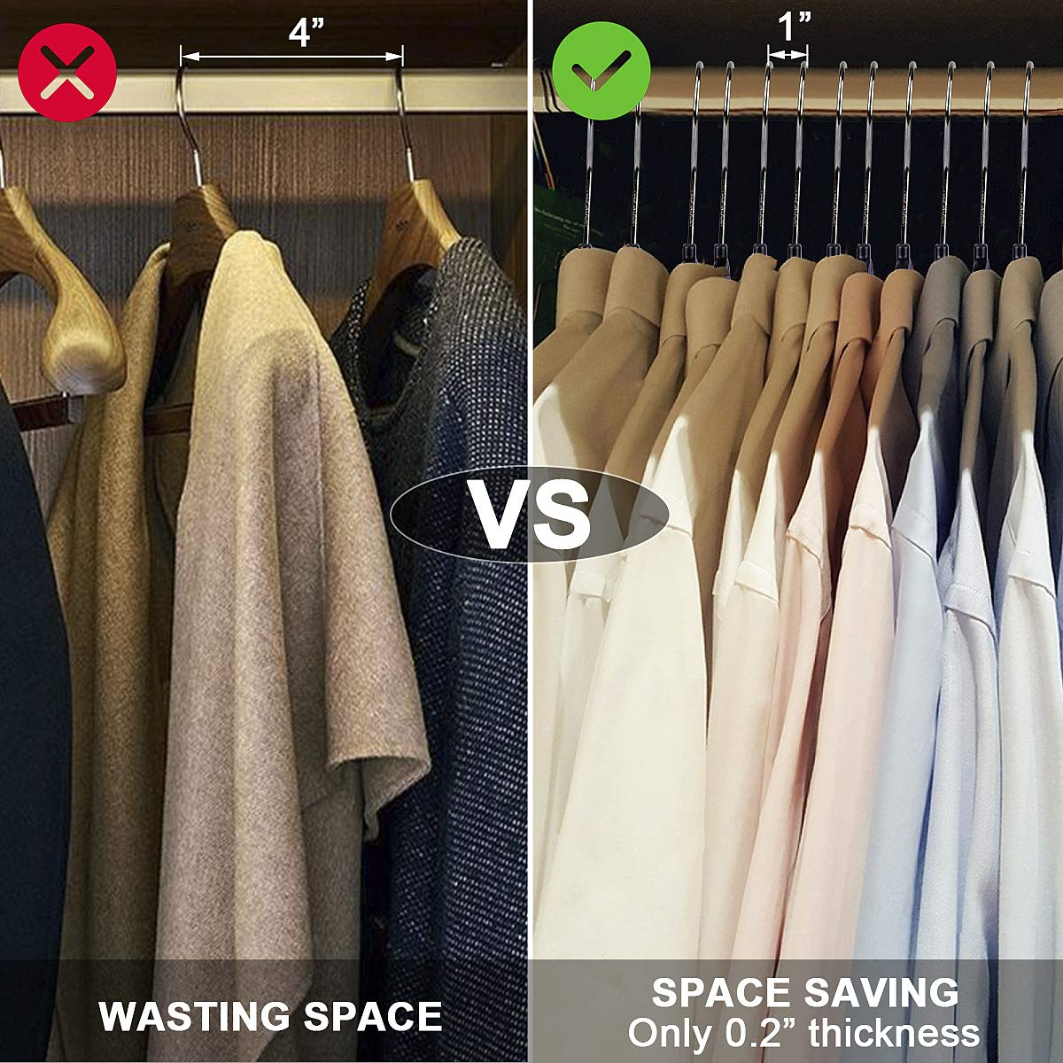 Grey Wider Size Hanger Nonslip Clothes Hangers,30 Packs Ultra Thin with Non-Slip Rubber Coating Hanger,360 Degree Swivel Hook NUOKING Plastic Hanger