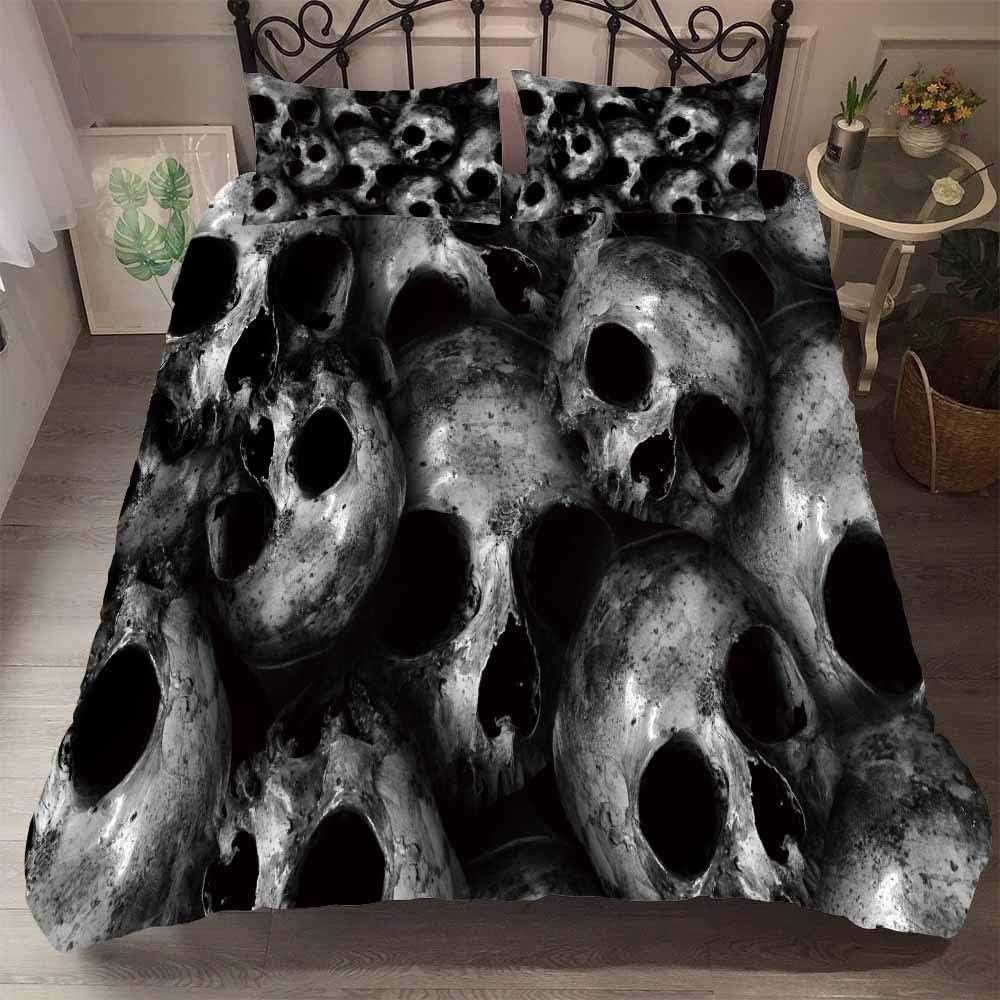 CHICKZ Juego de Fundas de edredón gótico Scary Halloween 3D Skull Scary de 3 Piezas Twin Queen King Juegos de Cama Ropa de Cama Funda de Almohada (#8,Queen / 220 * 230cm): Amazon.es: Hogar