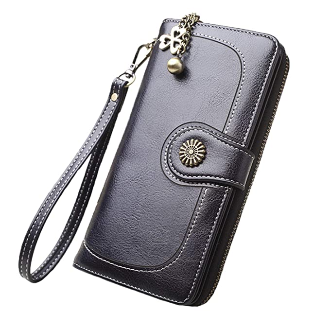 Desirca New Vintage Button Phone Purses Women Wallets Female Purse Leather Retro Ladies Long Zipper Woman