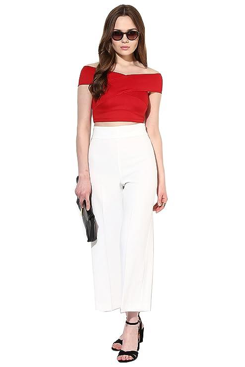 7e26828cbf4e6 Veni Vidi Vici Cherry Red Bandage Bardot Off Shoulder Crop Top  Amazon.in   Clothing   Accessories