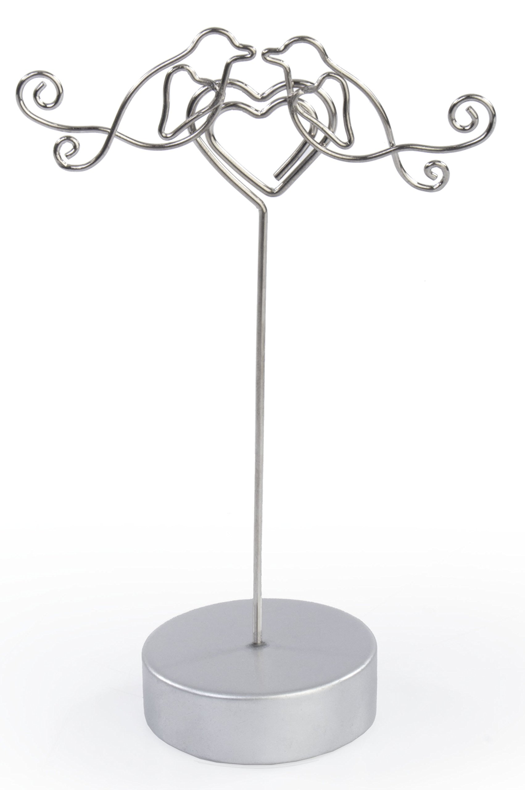 Displays2go Wedding Reception Place Card Holders in Lovebirds Embracing Heart, 4.8-Inch, Set of 25