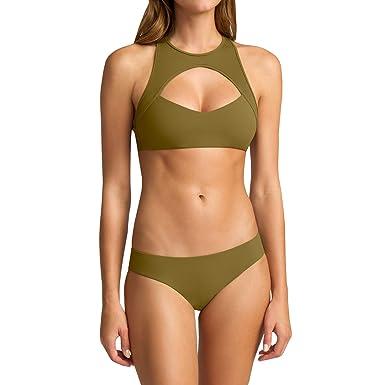 969d750ee8 Amazon.com  Lynwitkui Womens High Neck Bikini Swimsuits Tops 2 Piece Push Up  Sexy Cutout Padded Sport Bikini Brazilian Sets Swimsuit  Clothing