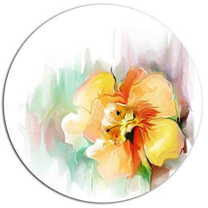 Amazon designart mt14989 c11 beautiful yellow flower drawing designart mt14989 c11 beautiful yellow flower drawing floral round metal wall art disc of mightylinksfo