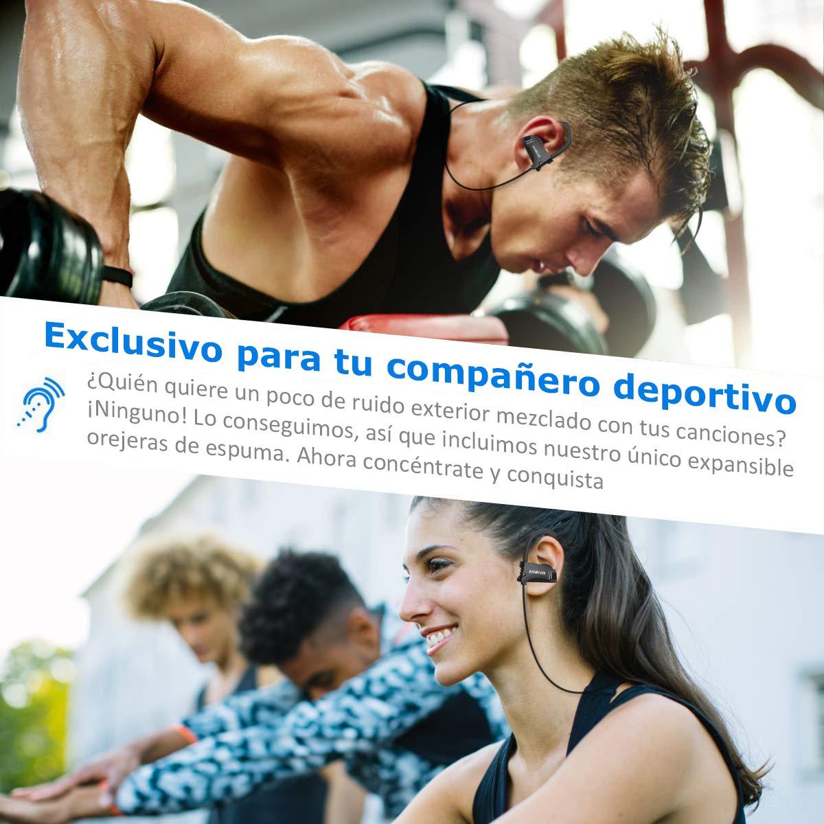 LOBKIN Auriculares inalámbricos deportivos Bluetooth resistente al sudor IPX4 Fijación estable en la oreja Cascos ergonómicos auricular con gancho para el oído eliminación de ruido cascos 6 horas de funcionamiento con micrófono para running