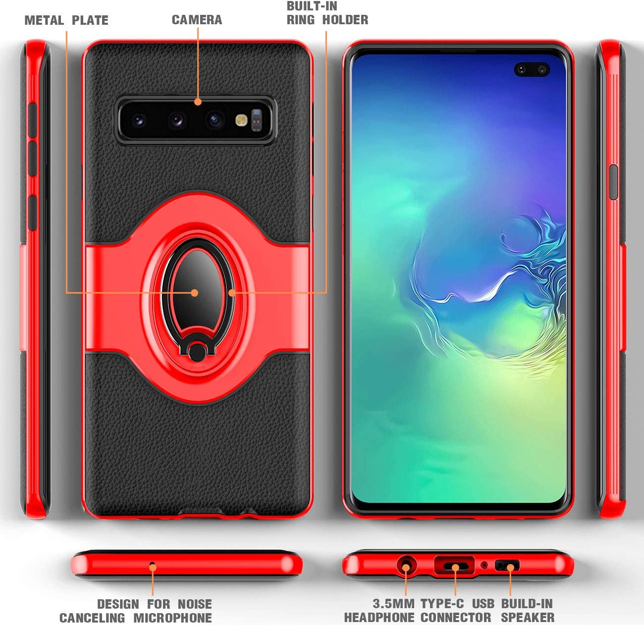 Red eSamcore Ring Holder Kickstand Cases Dashboard Magnetic Phone Car Mount Samsung Galaxy S10 Plus Case