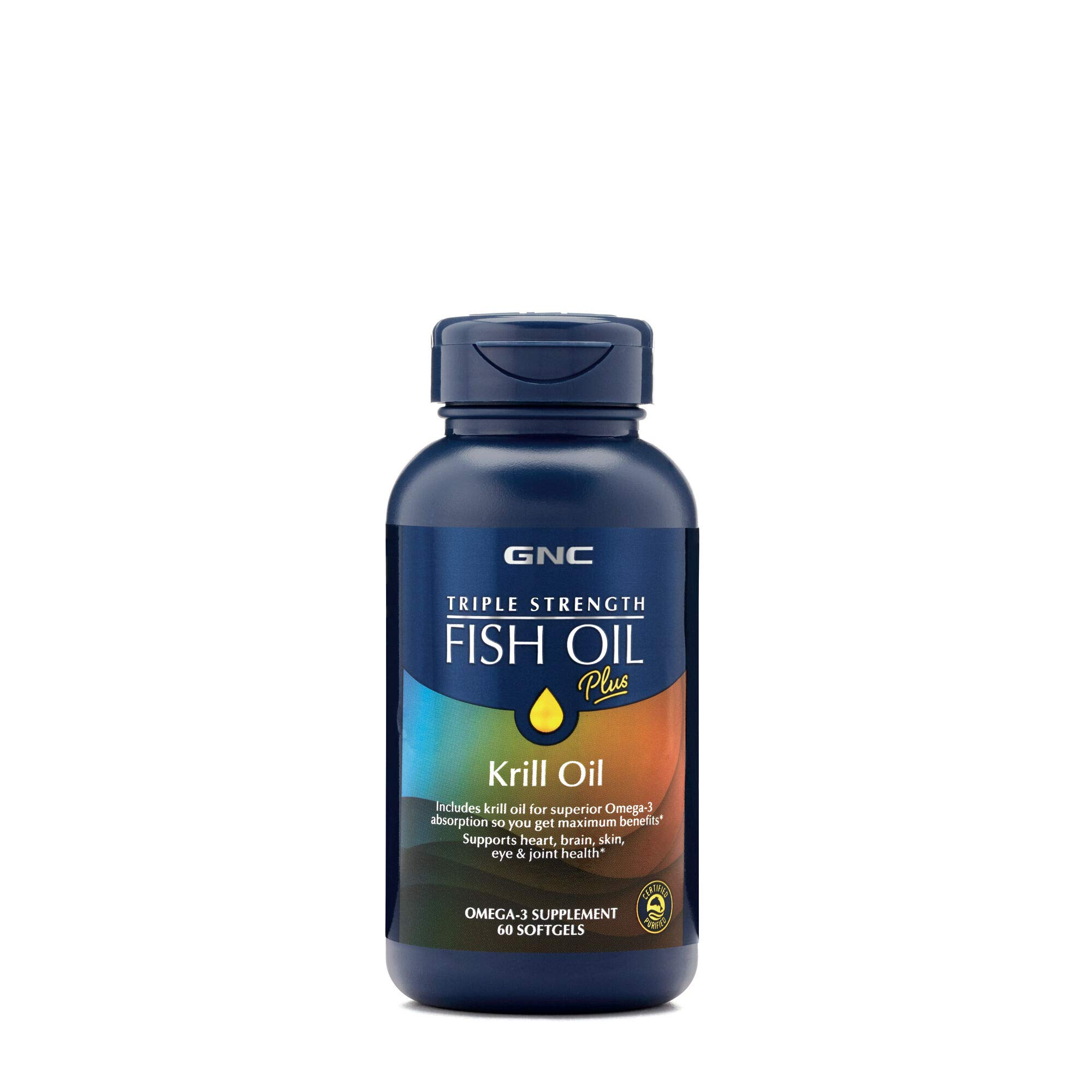 GNC Triple Strength Fish Oil Plus Krill Oil, 60 Softgels, for Join, Skin, Eye, and Heart Health by GNC