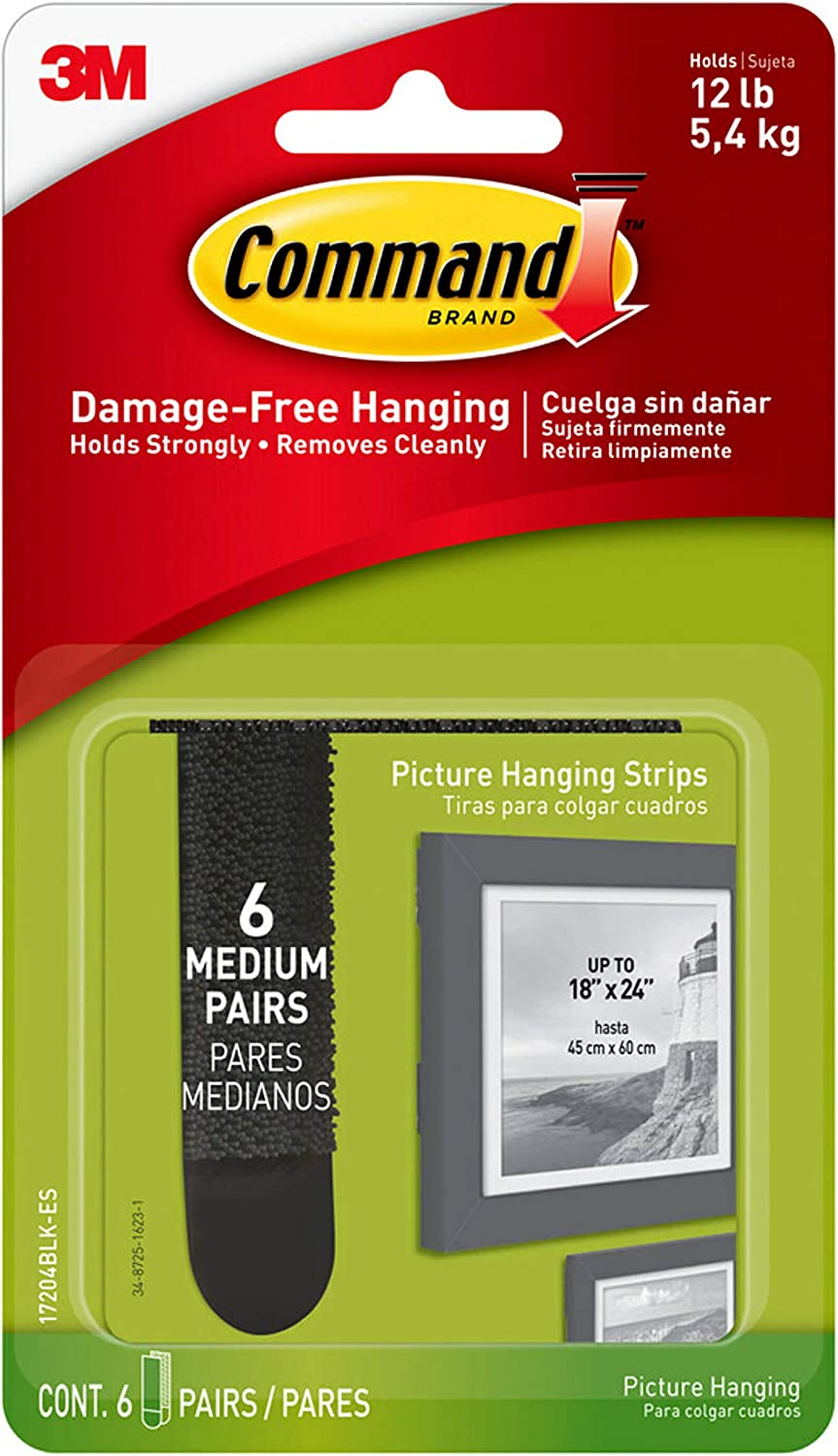 17204BLK-ES 12-Strips 1 Black Command Picture Hanging Strips 6-Pairs