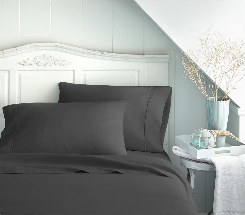 Becky Cameron BC-4PC-CALKING-BLACK ienjoy Home 4 Piece Double Brushed Microfiber Bed Sheet Set, California King, Black, Calking