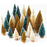 AerWo 24PCS Artificial Mini Christmas Trees, Sisal Trees with Wood Base Bottle Brush Trees for Christmas Table Top Decor…