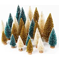 AerWo 24PCS Artificial Mini Christmas Trees, Upgrade Sisal Trees with Wood Base Bottle Brush Trees for Christmas Table…
