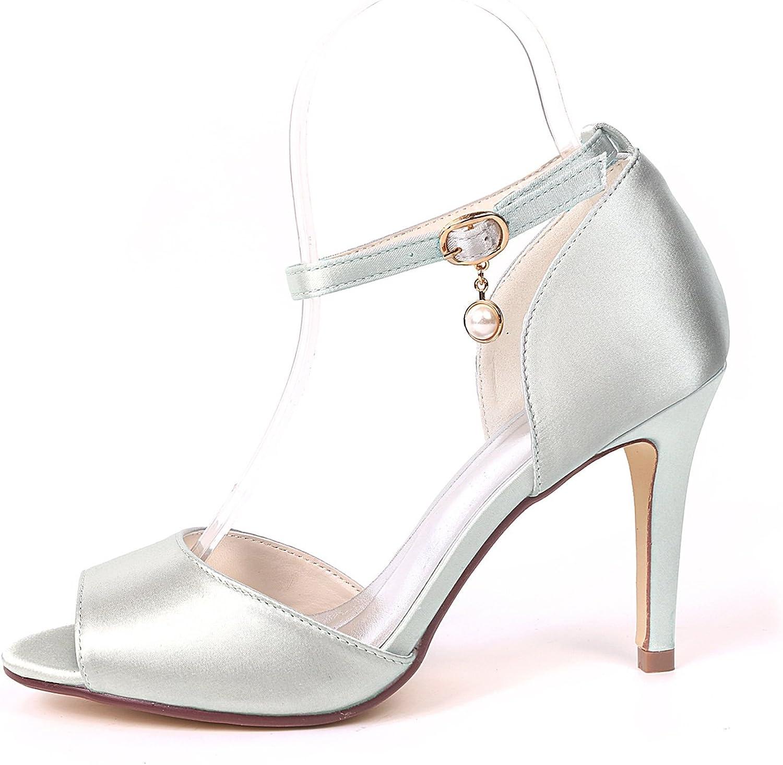 Moojm Chaussures femmes, talons hauts avec perles poisson bouche orteil 9cms soie sandales boucle mariage/fête/quotidien Silver