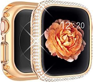 Tensea Bling Case Compatible with Apple Watch Series 6 SE 5 4 44mm Full Cover Protective Screen Protector Diamond Stainless Steel Metal Frame for Watch iWatch Gift for Women Girls (Rose Gold, 44mm)