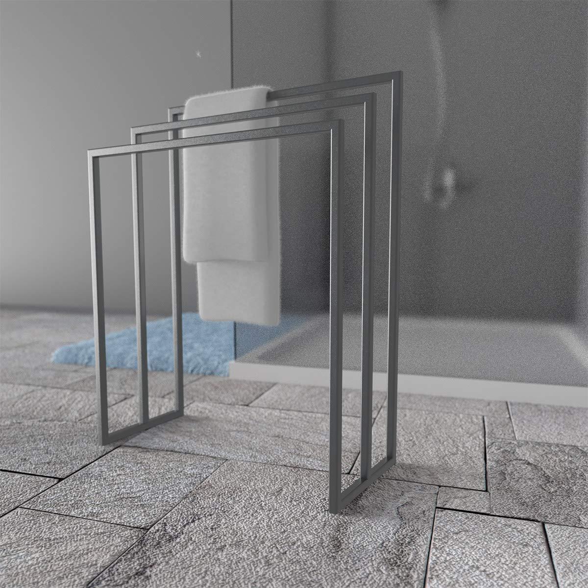 HOLZBRINK Metall Handtuchhalter Handtuchhalter Handtuchhalter für Badezimmer Kleiderständer Freistehender Handtuchständer mit 3 Stangen, Perldunkelgrau, 82x70x30 cm (HxBxT), HLMH-02B-82-70-9023 B07NML1221 Handtuchstnder c69327