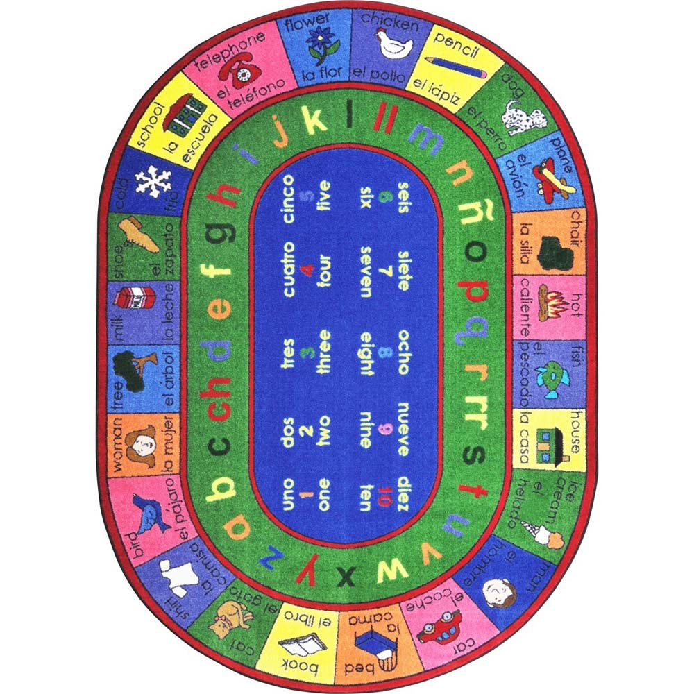 Joy Carpets Kid Essentials Language & Literacy Oval Spanish LenguaLink Rug, Multicolored, 5'4'' x 7'8''