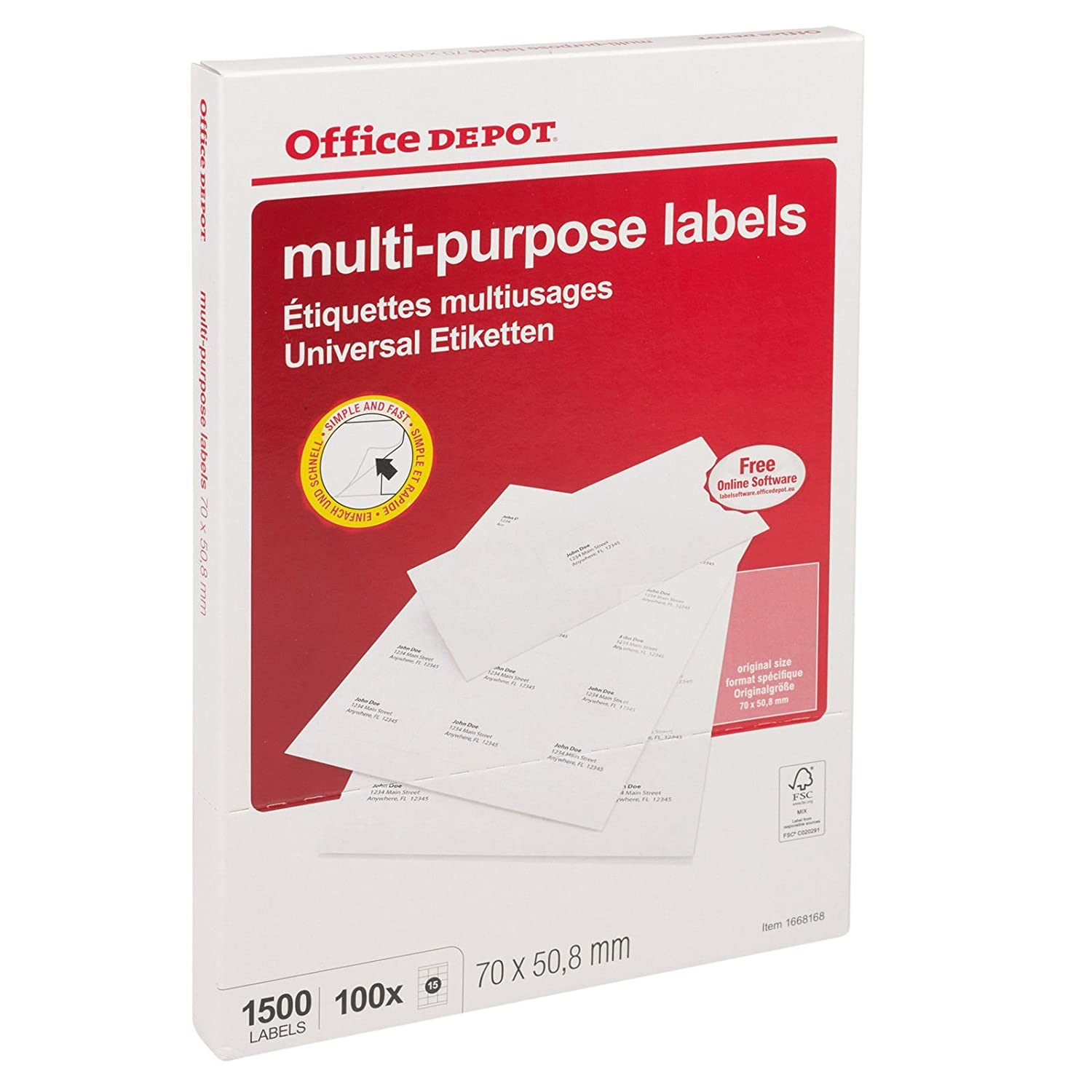 A4 Mailing Address Multi-Purpose Labels 15 Per Sheet - Office Depot:  Amazon.co.uk: Office Products