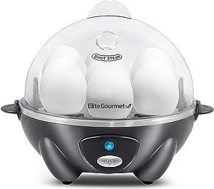 Elite Gourmet EGC007DKG Easy Electric 7 Egg Capacity Cooker, Poacher, Omelet Maker, Scrambled, Soft, Medium, Hard Boiled with Auto Shut-Off and Buzzer, BPA Free, Dark Grey