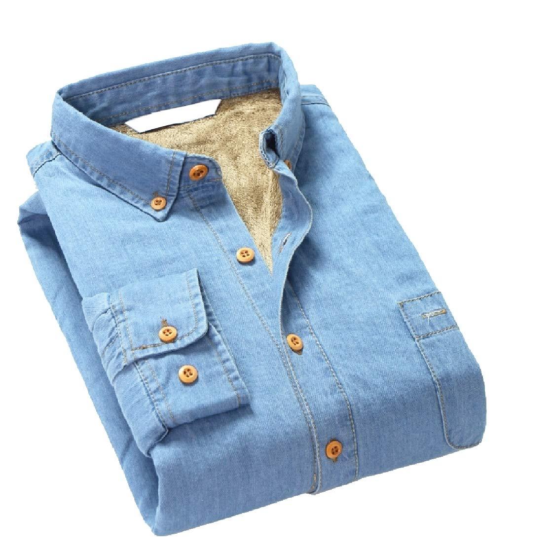 YUNY Mens Denim Plus Velvet Business Cotton Thicken Button Dress Shirt Light Blue 3XL