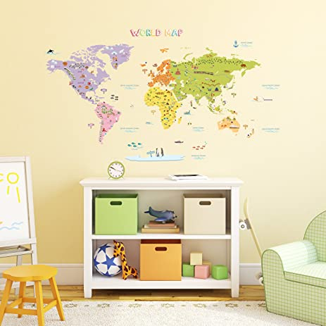 Decowall DMTN Colourful World Map Kids Wall Decals Wall - World map for kids room