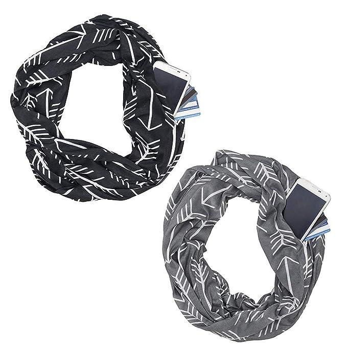 73e6481ce315 Hidden Zipper Pocketed Travel Scarf- Women Lightweight Infinity Scarf  Wrap,Soft Stretchy-3 pack