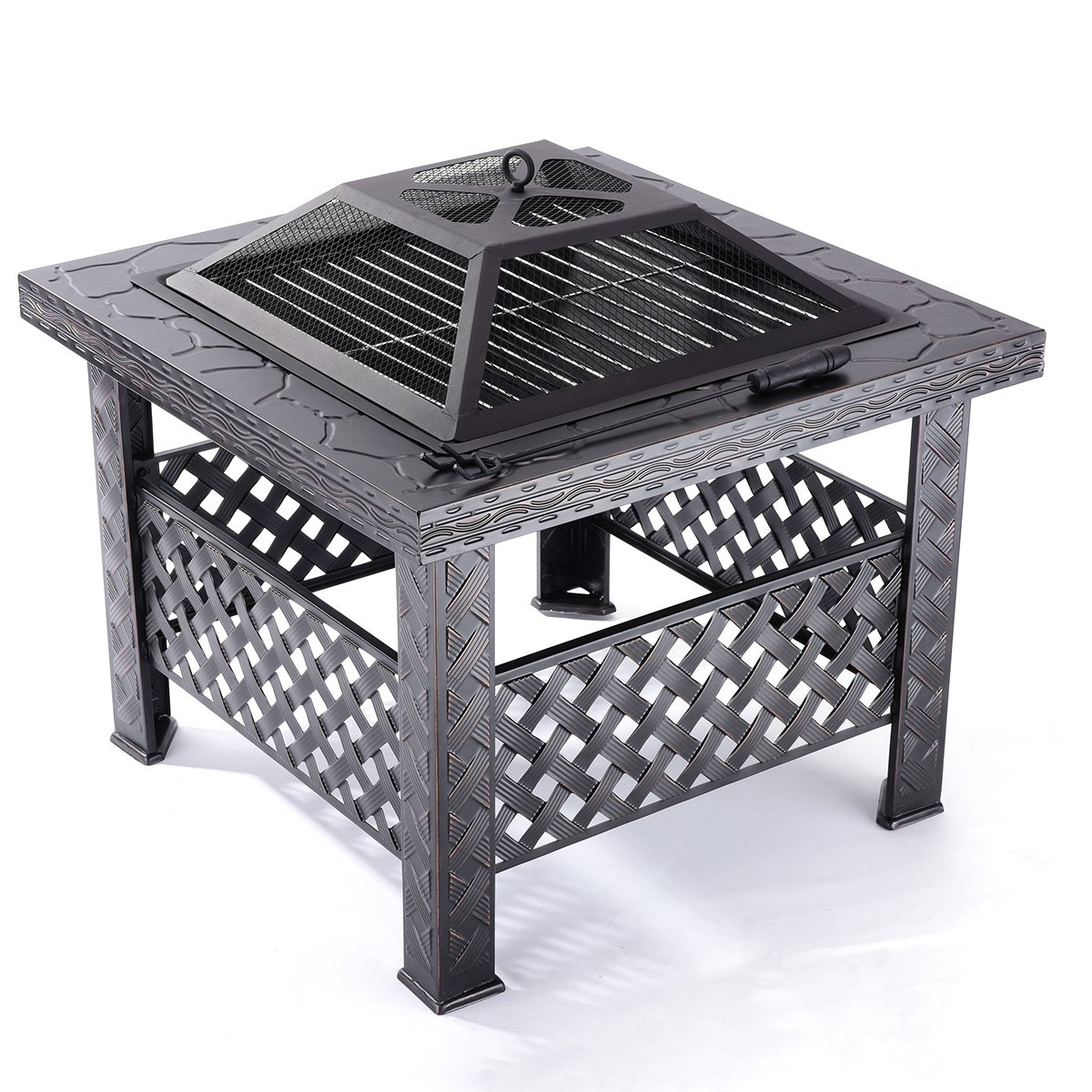 Qisan Fire Pit 26'' Square Fire Pit Table Outdoor Grill Backyard Patio Garden Charcoal Stove by