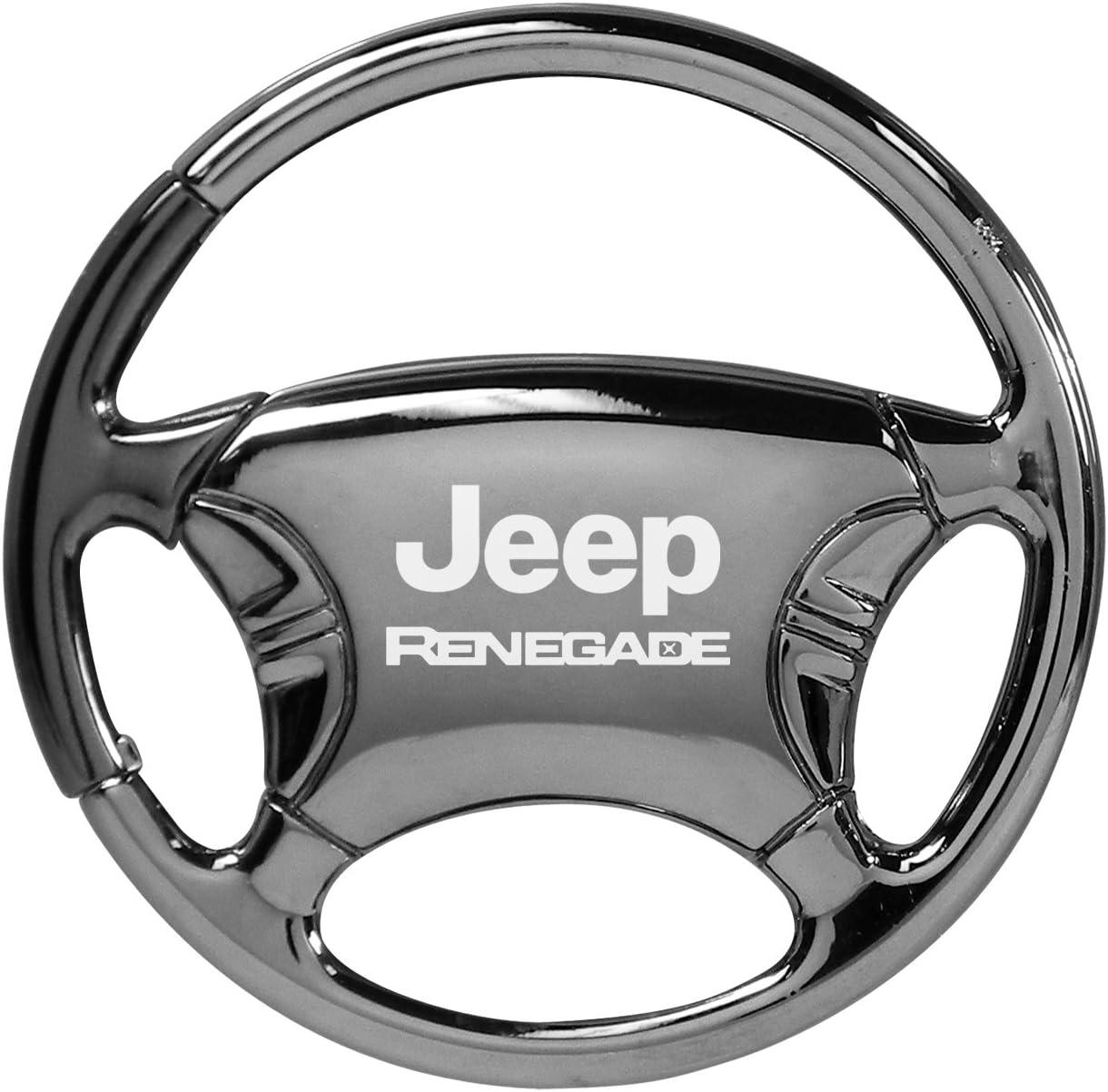 Jeep Rubicon Silver Steering Wheel Key Chain Au-Tomotive Gold INC